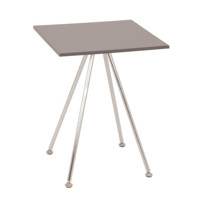 Table d 39 appoint chrom gris en acier chrom mdf brillant for Table d appoint fly