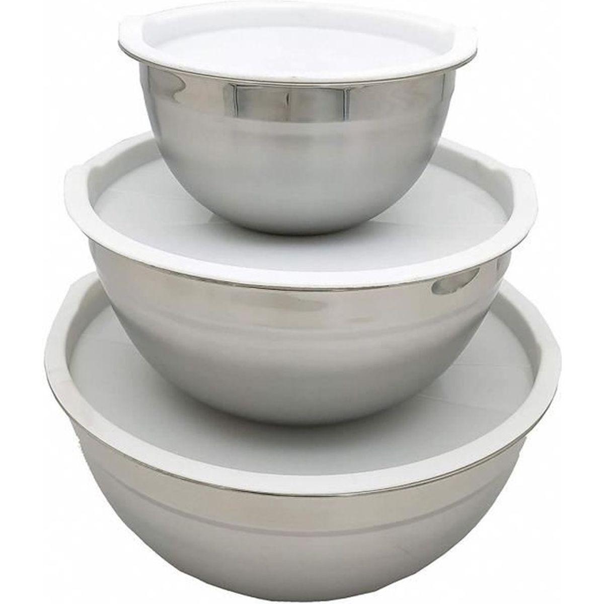 4 tailles Lot de 4 bols avec couvercle saladiers cuisine empilables en plastique