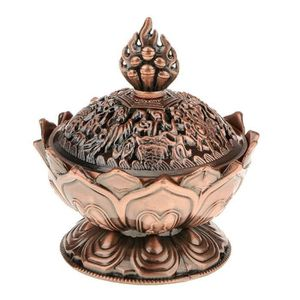 1X 7cm Chinois Bronze Cuivre Lotus Fleur Forme Statue Brûleur D/'encens Ence OFQ