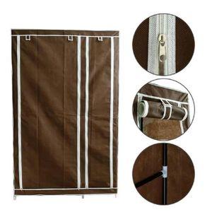 ARMOIRE DE CHAMBRE Armoire Penderie tissu marron Rangement 110 x 45 x
