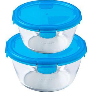 BOITES DE CONSERVATION PYREX - Lot de 2 boîtes rondes 15cm + 20 cm - Bleu