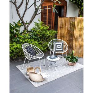 Salon bas de jardin Salon de jardin en métal 2 personnes OPOA Blanc