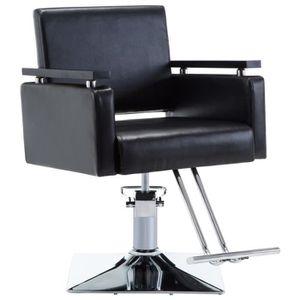 FAUTEUIL DE COIFFURE - BARBIER Chaise de coiffeur Similicuir Noir - 110164