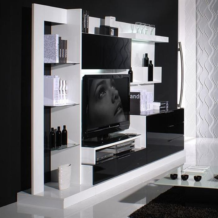 nuty composition murale tv 190cm laqu e n b achat. Black Bedroom Furniture Sets. Home Design Ideas