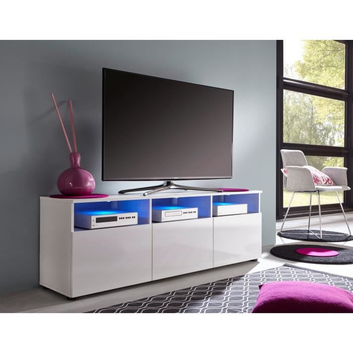 media meuble tv avec led 150 cm blanc achat vente meuble tv media meuble tv cdiscount. Black Bedroom Furniture Sets. Home Design Ideas