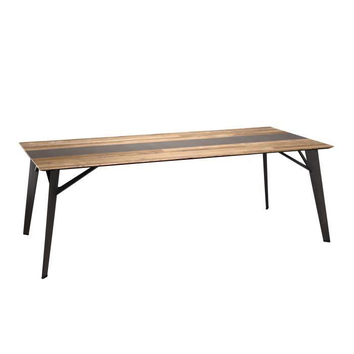 Table à manger - Teck recyclé métal et pieds métal marron - L 220 x P 100 x H 76 cm