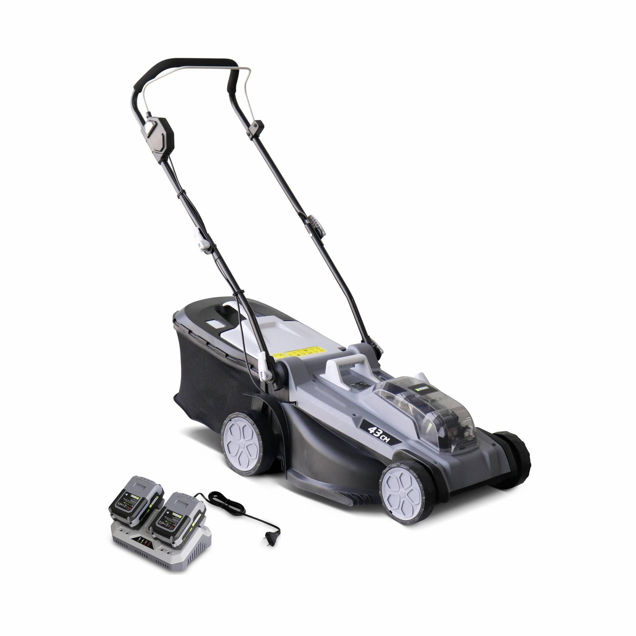 VOLTR 36V – Tondeuse à gazon sans fil 43cm – Batteries 20V Lithium 4.0Ah + double chargeur rapide, récupérateur d'herbe 40L