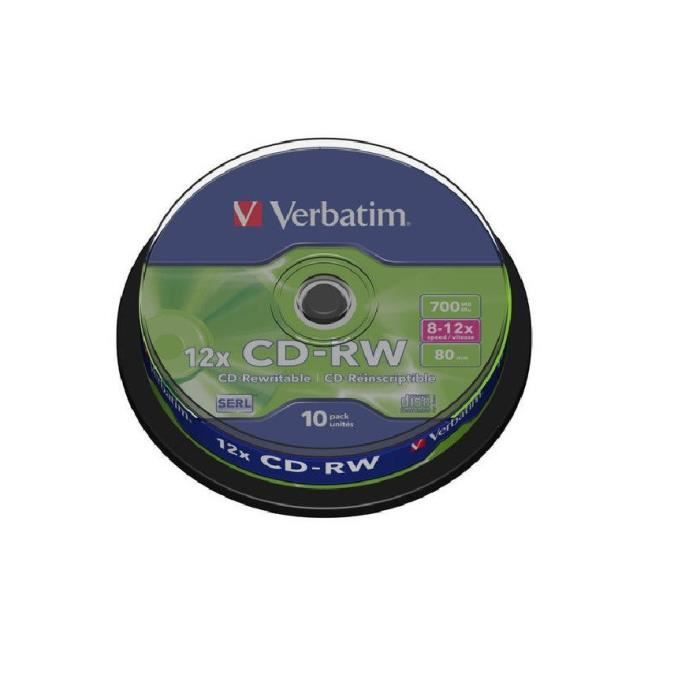 VERBATIM Lot de 10 CD-RW Datalifeplus - 700 mo 8x - 10x