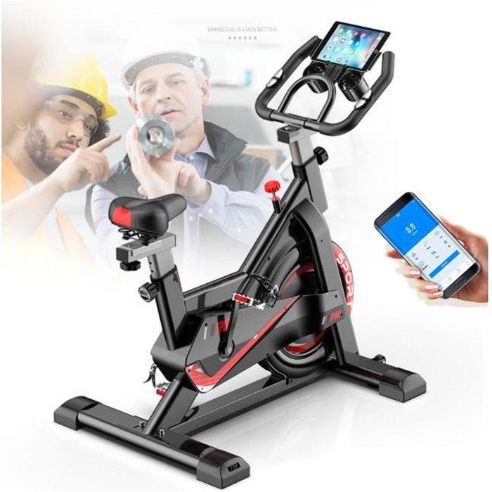 Vélo Spinning Biking d'appartement, Poids d'inertie de 11 KG avec Programme gaming, support l'Ecran, Guidon et Siège Régla