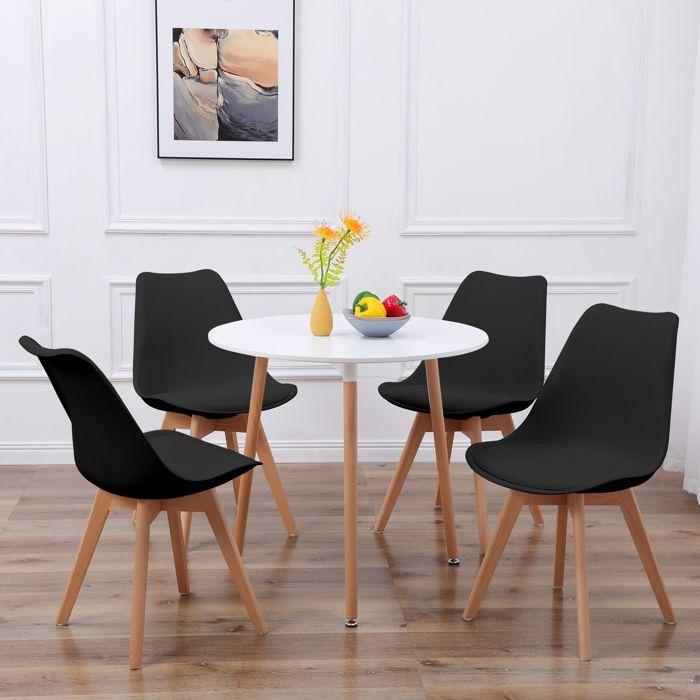 IPOTIUS Ronde Table Salle à Manger Scandinave Table de Cuisine 80 x 80 x 75 CM Blanc
