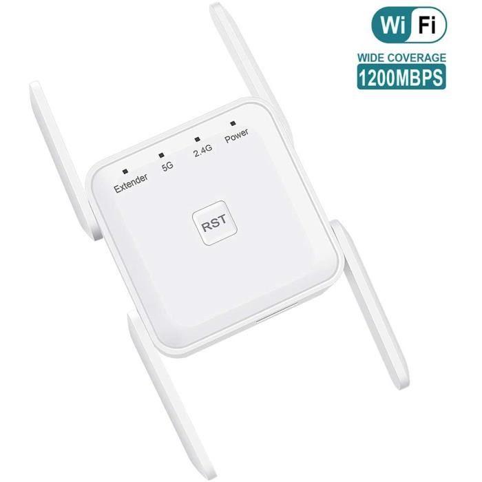 Répéteurs Getue Amplificateur WiFi sans Fil Puissant – 1200Mbps Répéteur WiFi Double Bande 5GHz 2.4GHz, WiFi Extender av 30