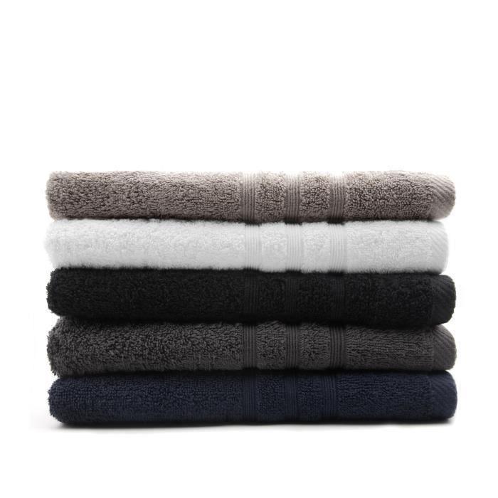 TODAY Lot de 5 Draps de bain assortis - 5 Coloris - 70 x 130 cm - 100% coton