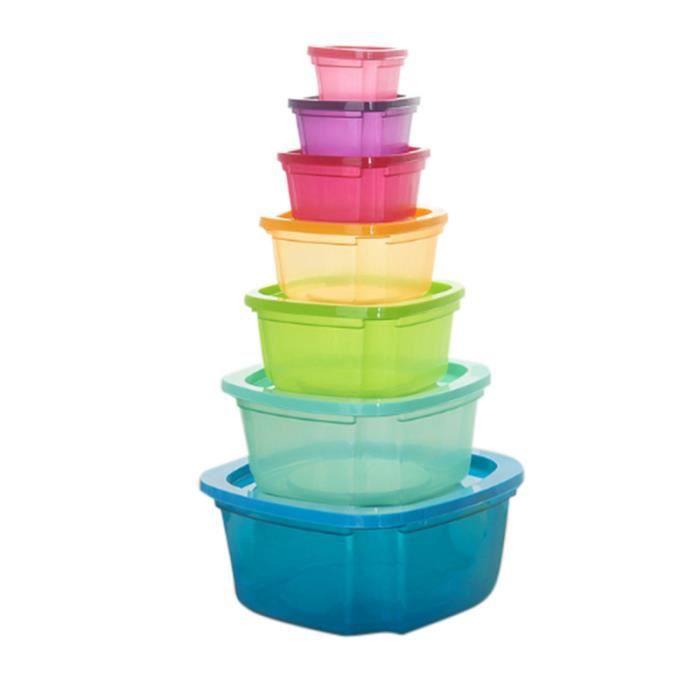 Weiqiao® Boites Alimentaires 7 Boites en Plastique Emboitables + Couvercles pour Lave Vaisselle Four à Micro-Ondes Congélateur
