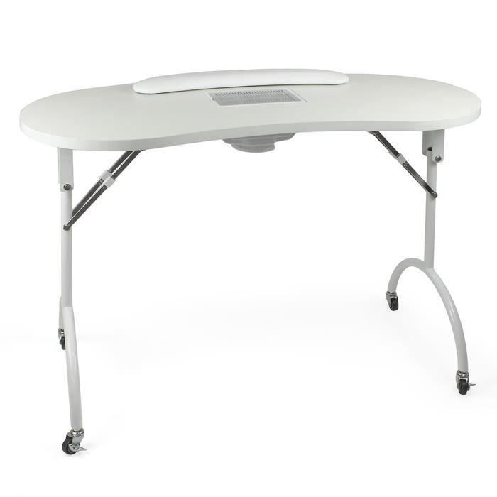 Table manucure domicile pliante avec aspirateur Favignana 2 Blanc Sur roulettes L= 110cm l= 46cm H= 75cm, Beautélive