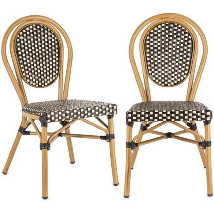 Blumfeldt Montpellier BL Lot 2 Chaises de jardin design en résine tressée - Chaise bistrot empilable - cadre aluminium - noir& crème