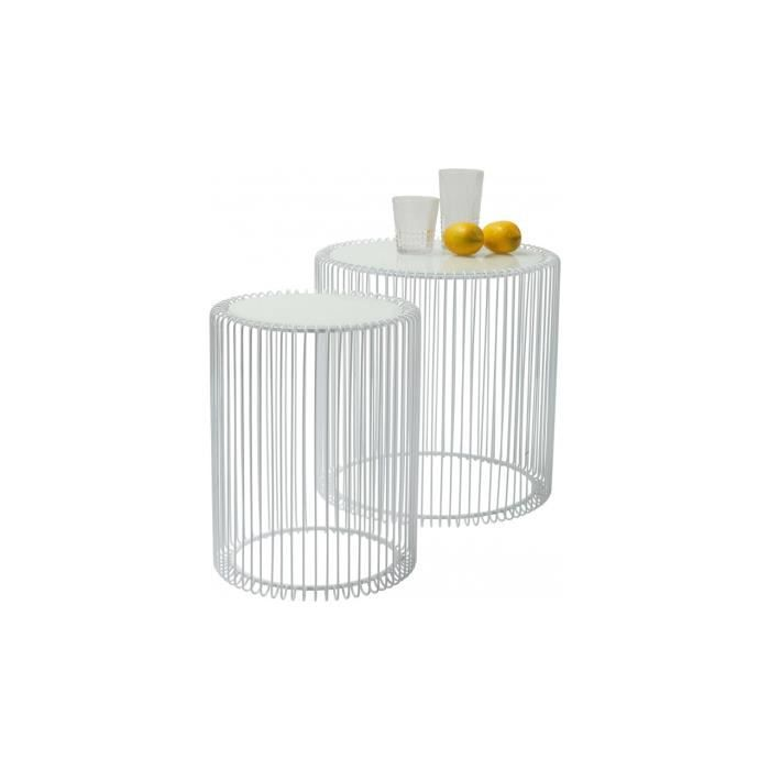 Tables d appoint Wire blanc 2/set Kare Design