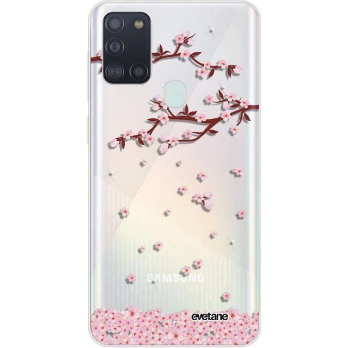 Coque Samsung Galaxy A21S 360 intégrale transparente Chute De Fleurs Ecriture Tendance Design Evetane.