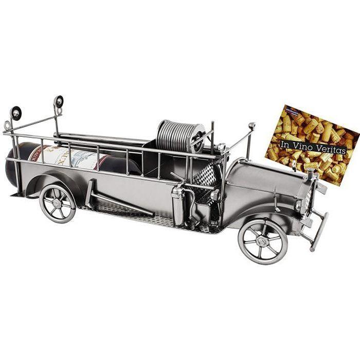Brubaker Porte-Bouteille de vin - Camion de Pompier - Métal - Carte de vœux Incluse - Idée Cadeau Originale - Objet décoratif