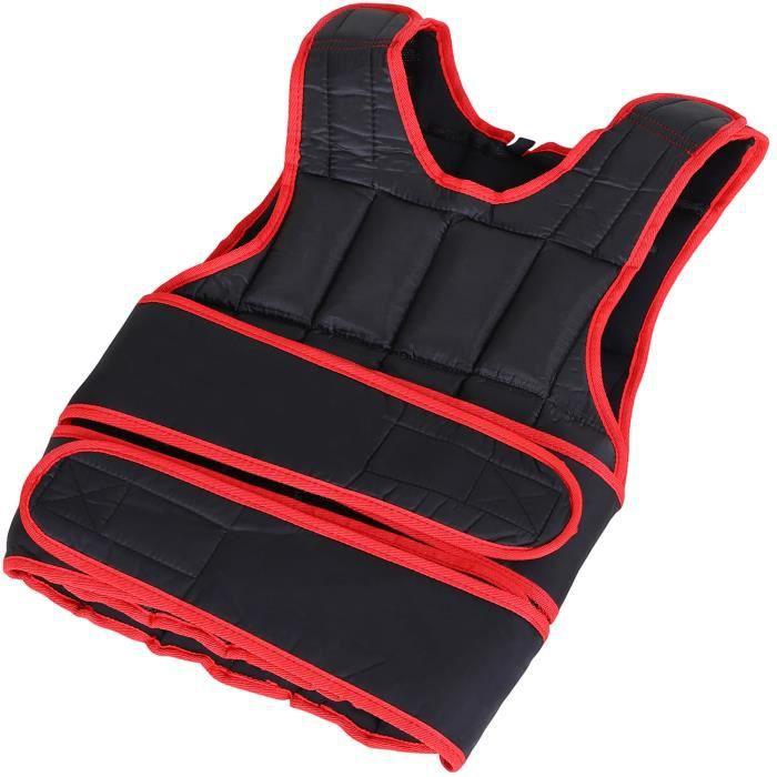 Gilet lesté réglable veste lestée 10 Kg max. poids amovibles entrainement musculation exercice boxe oxford noir rouge 40x1x59cm Noir
