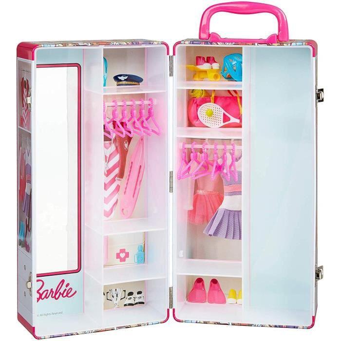BARBIE - Mallette armoire pour ranger les vêtements de tes poupées Barbie