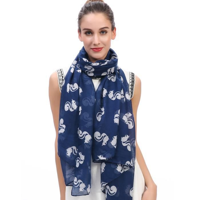 Écharpe Foulard pour Femme Imprimé Écureuil Bleu