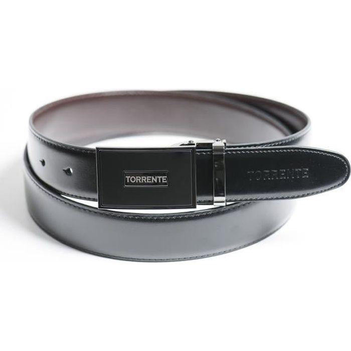 Torrente - Ceinture Reversible Noir/Marron - Cuir - Taille Ajustable - Boucle détachable - Ceinture homme Couture 11