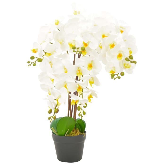 Plante artificielle avec pot Orchidée Blanc 60 cm