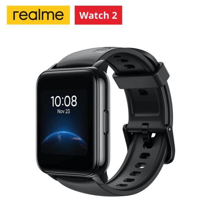 Realme Watch 2 Noir Montre Intelligente 90 Modes Sportifs Oxygène Sanguin IP68 Étanche Pour ios Android