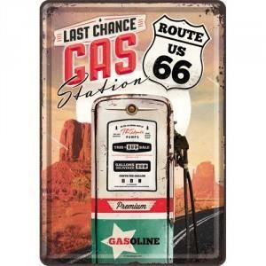 Plaque en métal 14 X 10 cm Route 66 : Gas Station (Station essence)