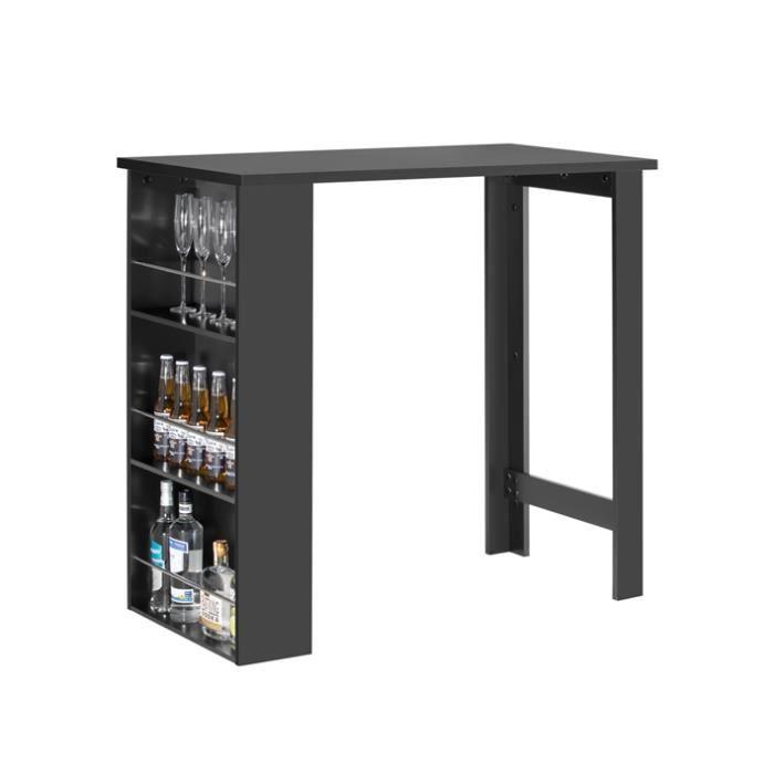 SoBuy® FWT17-Sch Table Haute Table de Bar Mange-debout avec 3 étagères de rangements – Noir