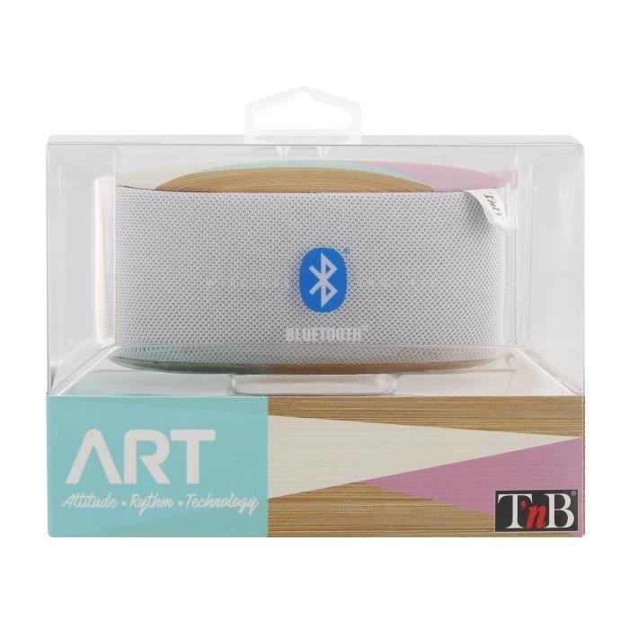 T'NB Art Scandi Enceinte nomade bluetooth - 5W - Blanc / Bois / Rose / Turquoise