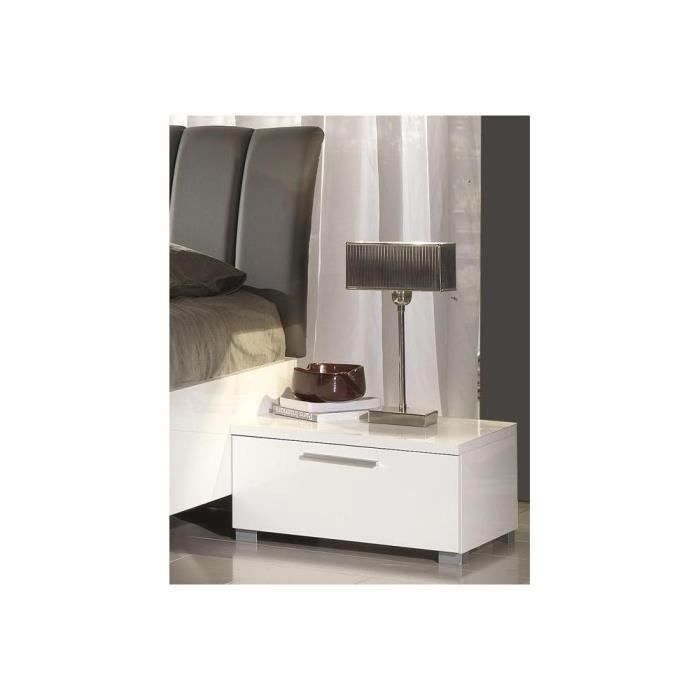 2 chevets design muni d 39 un tiroir box chv1 blanc laqu. Black Bedroom Furniture Sets. Home Design Ideas