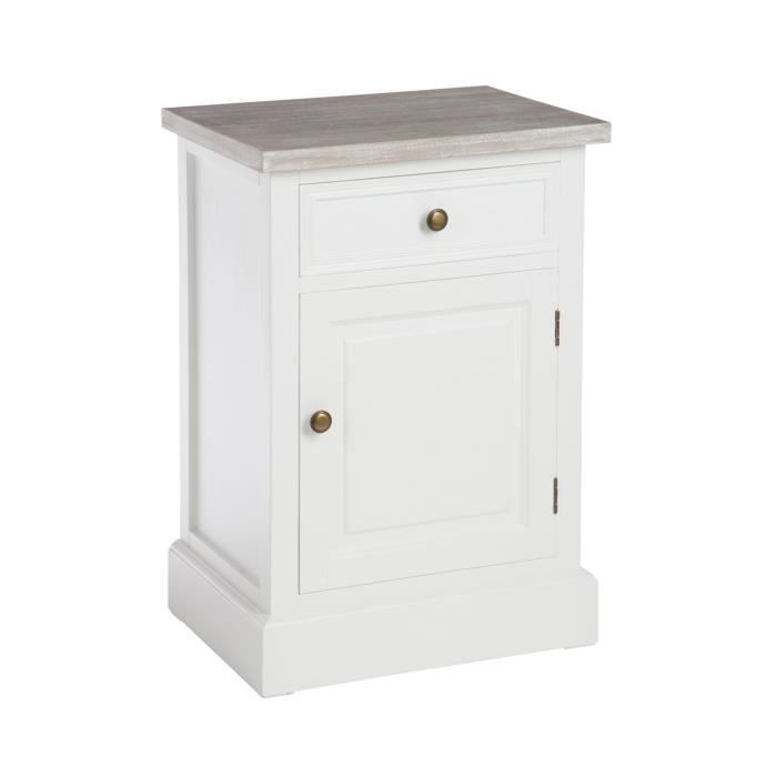 Table de chevet 1 porte 1 tiroir en bois coloris blanc for Table de chevet bebe