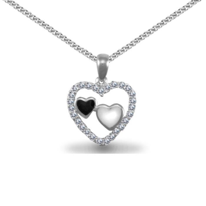 Jewelco London Dames Argent sterling blanc coeur damour pendentif