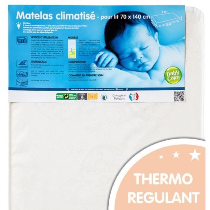 MATELAS BÉBÉ BABYCALIN Matelas Bébé Climatisé 70x140x12 cm - Tr