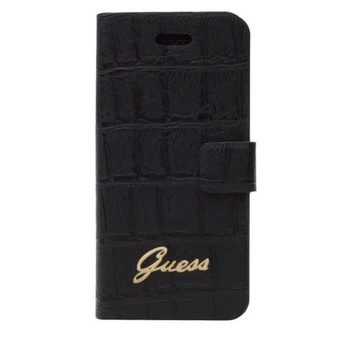 Coque housse etui folio guess cuir effet croco noir iphone for Housse iphone 6 guess