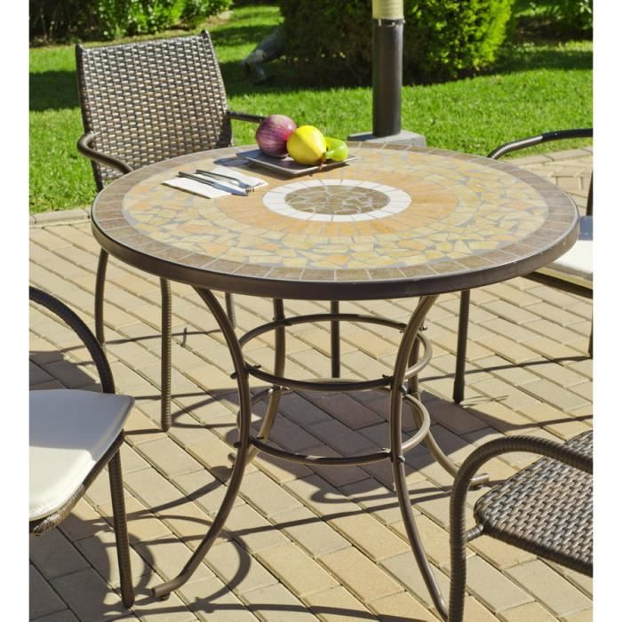 Cannes 90 table ronde 90cm couleur mosaique achat for Table en fer exterieur