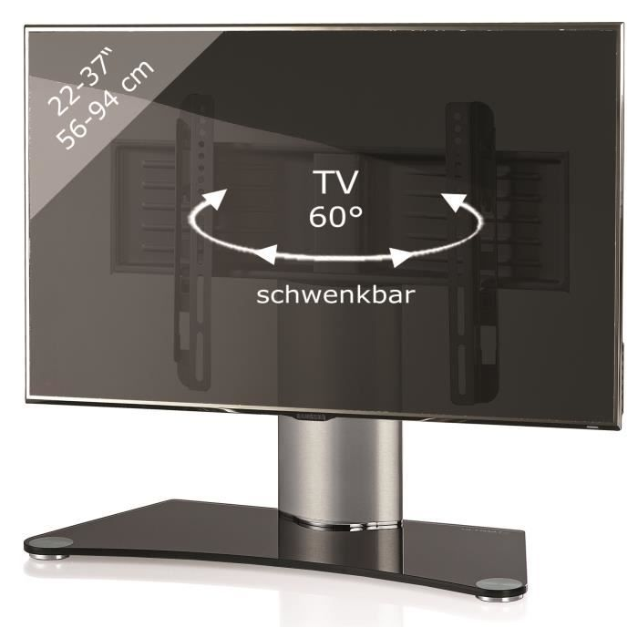 windoxa support fixe pour tv cran plat verre noir pied. Black Bedroom Furniture Sets. Home Design Ideas