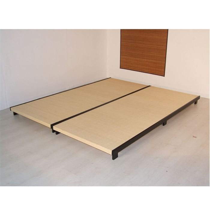 lit sommier tatami 140x180cm pin bambou coton achat vente tatami de lit cdiscount. Black Bedroom Furniture Sets. Home Design Ideas