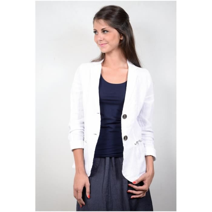 veste blazer femme en lin blanc blanc achat vente veste cdiscount. Black Bedroom Furniture Sets. Home Design Ideas