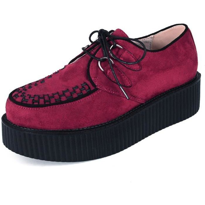 RoseG Homme Cuir Lacets Plateaforme Punk Creeper Chaussures Oxfords