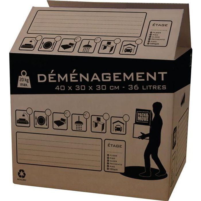 lot 20 cartons 36 l achat vente caisse demenagement cdiscount. Black Bedroom Furniture Sets. Home Design Ideas