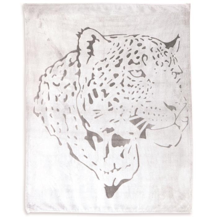 COUVERTURE - PLAID SOLEIL D'OCRE Plaid LEOPARD 130x150 cm - Blanc et