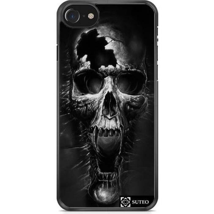 coque iphone 7 7s 4 7 tete de mort noire