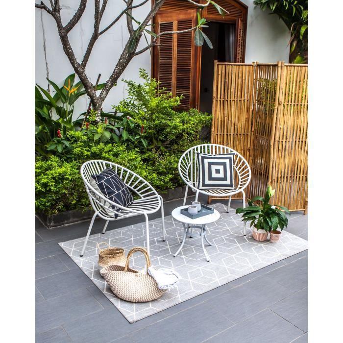 Salon de jardin metal blanc