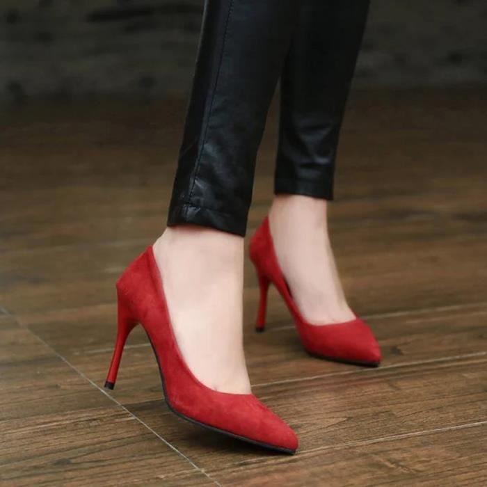 High Pointed y Pumps Shoes Leisure Party Fine Toe Fashion Femmes 5551 Rouge Slip on Heel w0S5gOnBxq
