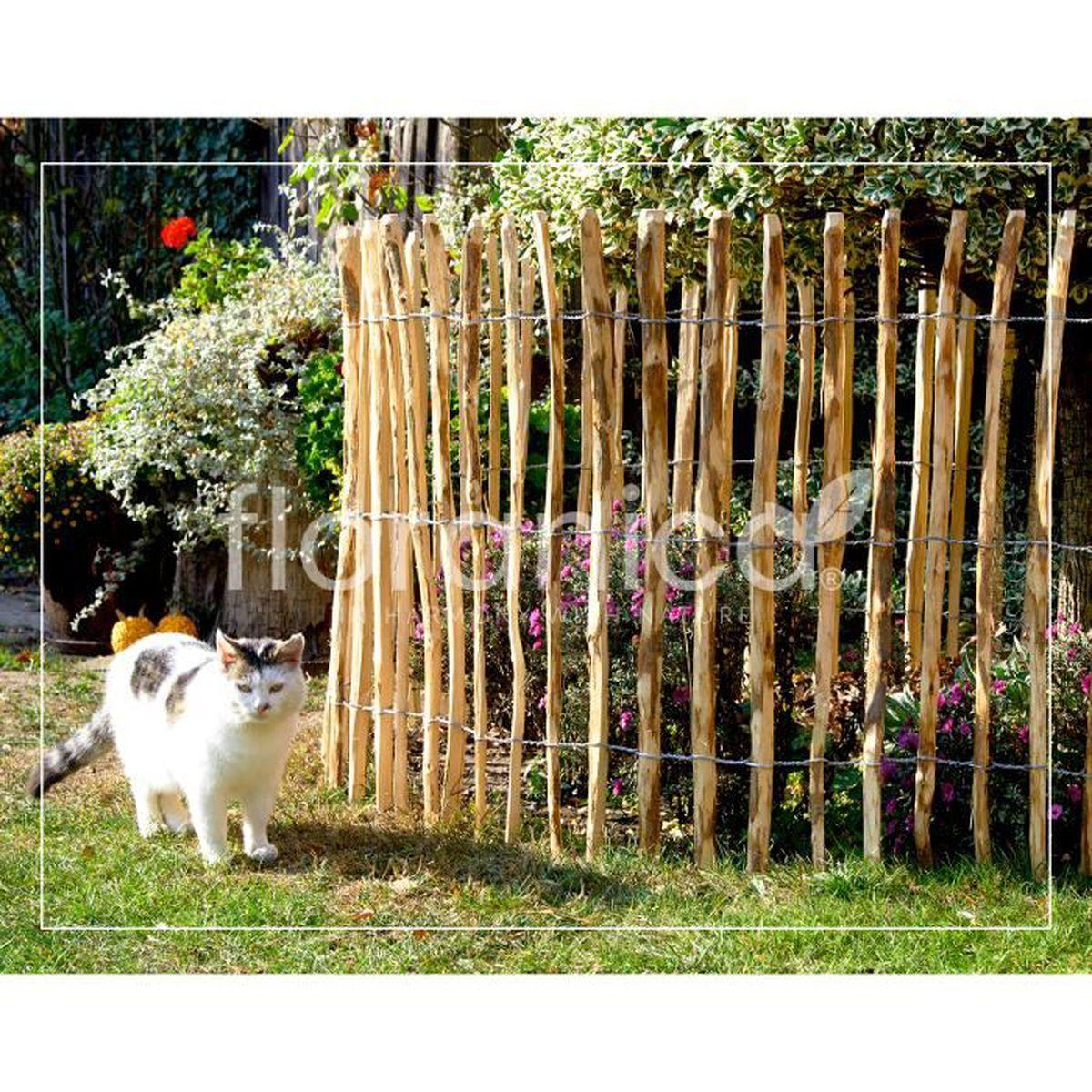 Faire Cloture Pas Cher clôture à lattis en bois de noisetier imprégné - longueur: 5m, ecart  piquets: 4 à 6 cm, hauteur: 60 cm