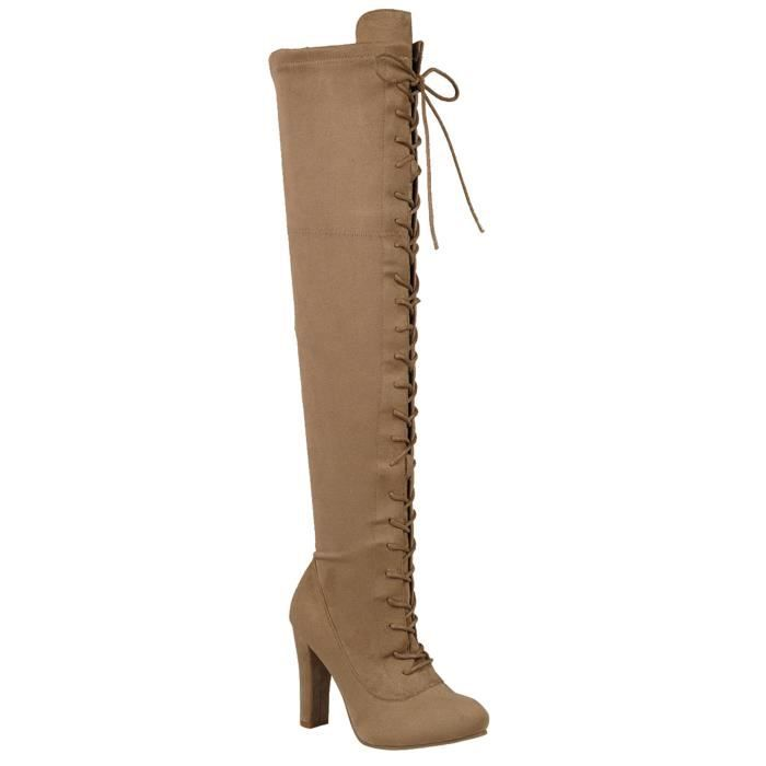 Lace-up Long Comfy Suede Block Style Over The Knee High Chunky Heel Long Boots YT5SN Taille-37 1-2