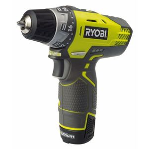 PERCEUSE RYOBI Perceuse 12 volts –  2 x 1,3Ah lithium