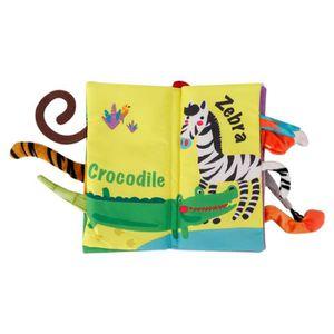 Livre en tissu pour b/éb/é en trois dimensions avec des animaux rigolos Livre /éducatif pr/écoce Livre en tissu anti-d/échirure